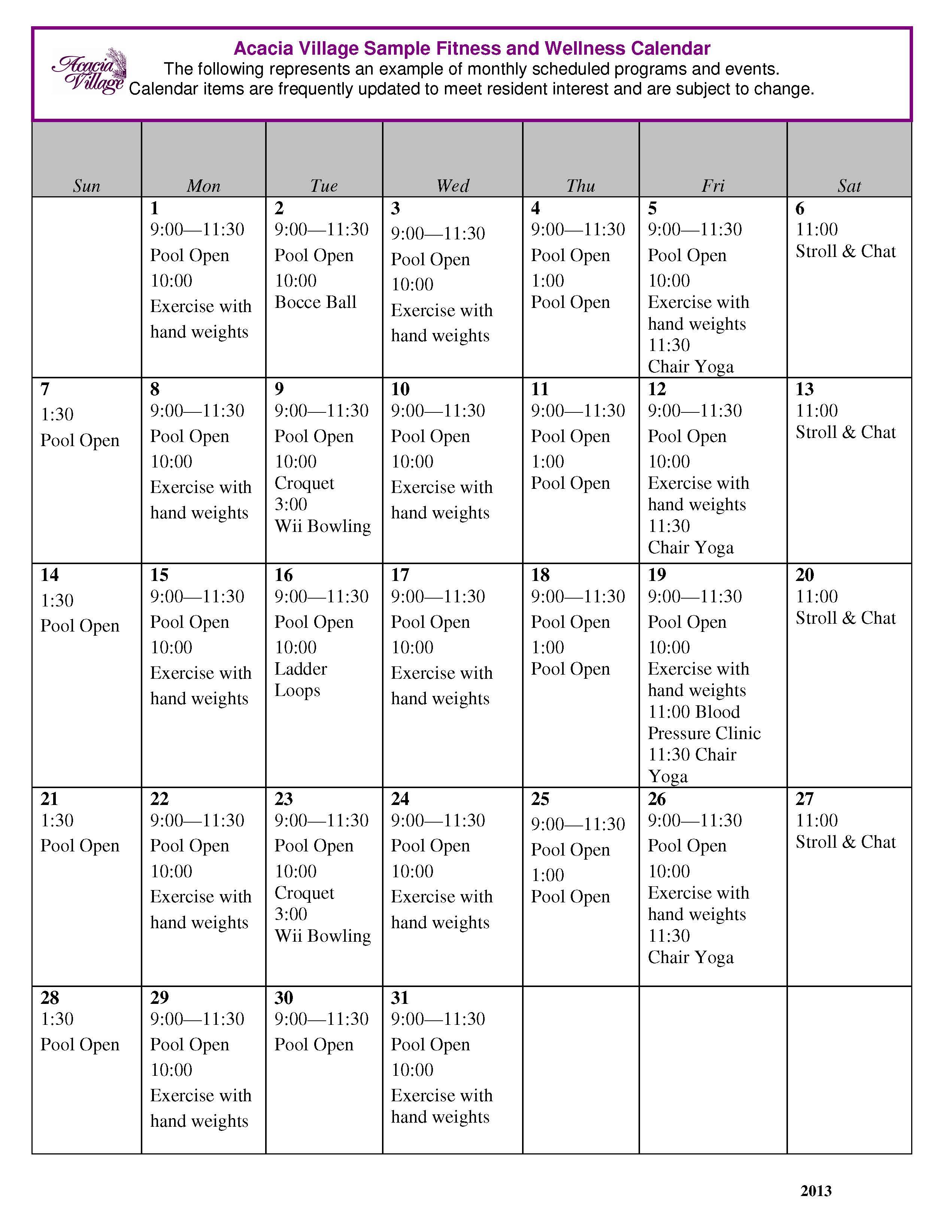 Acacia fitness calendar example