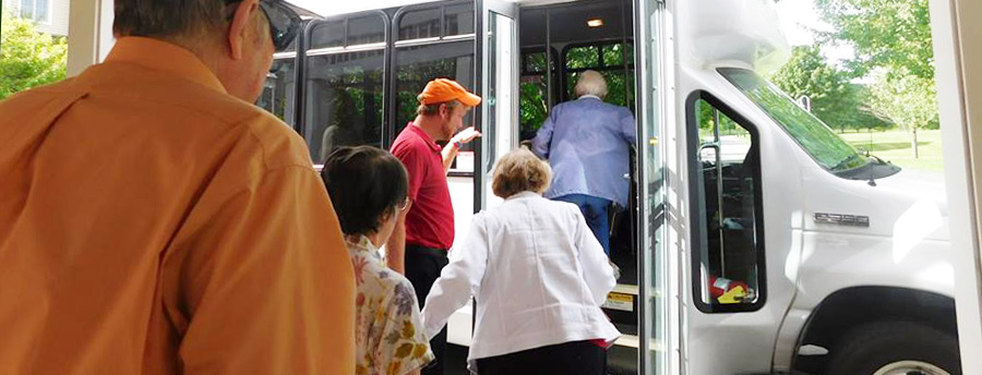 residents boarding independent living transportation service in Oneida